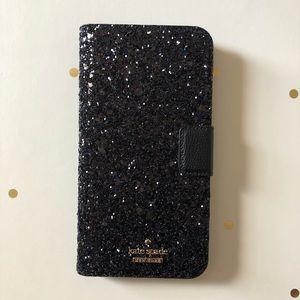 Glitter Black Kate Spade iPhone 8 Plus Folio Case